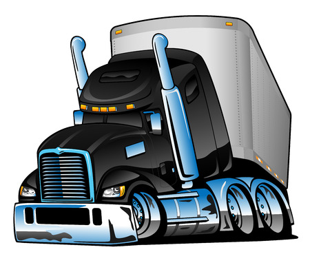 Semi Truck with Trailer Cartoon Vector Illustration Çizim