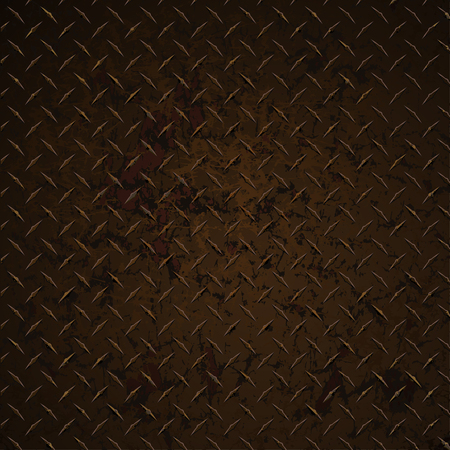 Diamond plate rusty distressed corroded realistic vector graphic illustration.