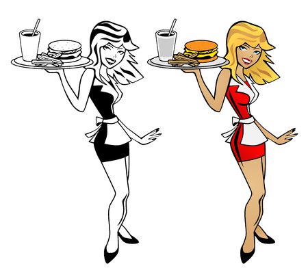 Cute waitress woman holding food tray with burger, fries and drink cartoon vector illustration Illustration
