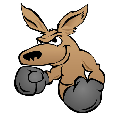 Cute kangaroo with boxing gloves vector illustration Vettoriali