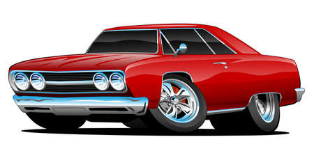 Red Hot Classic Muscle Car Coupe Cartoon Vector Illustration Çizim