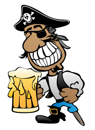 Pirate cartoon character with peg leg, Eye patch and beer vector illustration.