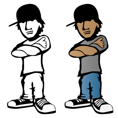 Cool young male cartoon character vector illustration, standing with arms crossed and serious expression Vettoriali