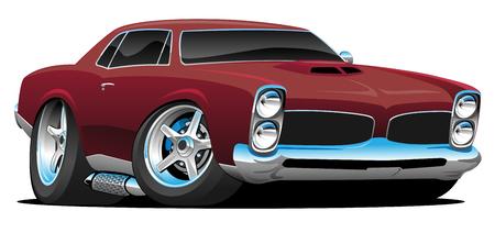 Klassieke Amerikaanse Muscle Car Cartoon Vector Illustratie Vector Illustratie