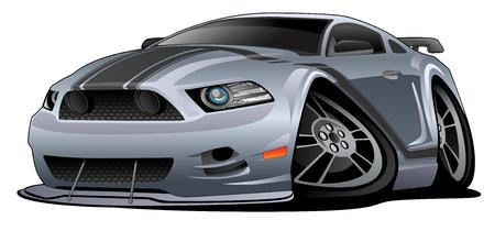 Modern American Muscle Car Cartoon Vector Illustration.