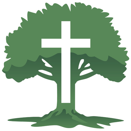 Cross and Tree Christian Religious Symbol Vector Illustration