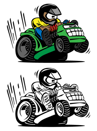 Cartoon racing lawnmower vector illustration