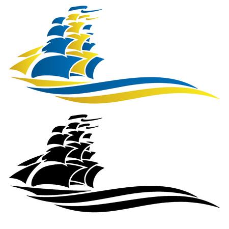 Graficzny ilustracja wektorowa statek żaglowy Ilustracje wektorowe
