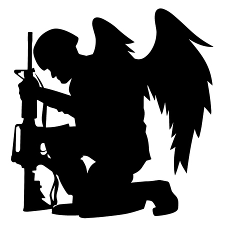 soldier, army, military, marines, american, kneeling, rifle, gun, weapon, squatting, silhouette, black, isolated, emotional, patriot, patriotic, memorial, respect, solemn, sad, pride, proud, marines, usmc, usa, navy, usn, seabee, armed, forces, power, tired, expression, feathers, icon, logo, clipart, illustration, vector, drawing, graphic, angel, male, man, person, wings, symbol, symbolic, honor, honoring