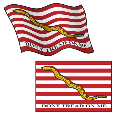 Don't Tread On Me Flag, Waving and Flat, Vector Graphic Illustration