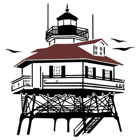 Lighthouse Drawing Vector Illustration Illustration