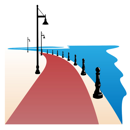 Seaside Boardwalk Vector illustration Stock Vector - 100338765