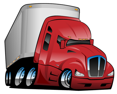 Semi Truck with Trailer Cartoon Vector Illustration Illustration