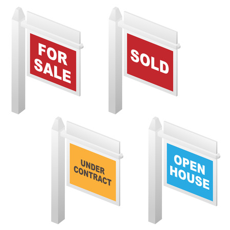 Real estate for sale, open house and under contract signs.
