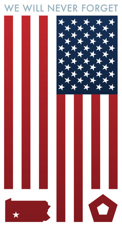 We Will Never Forget 9-11 Remembrance with usa flag Illustration.