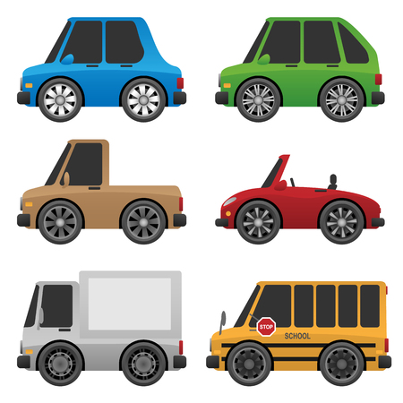 Set of cute cars and trucks icon illustration.