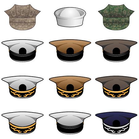 Military Hats Vector Illustration Illustration