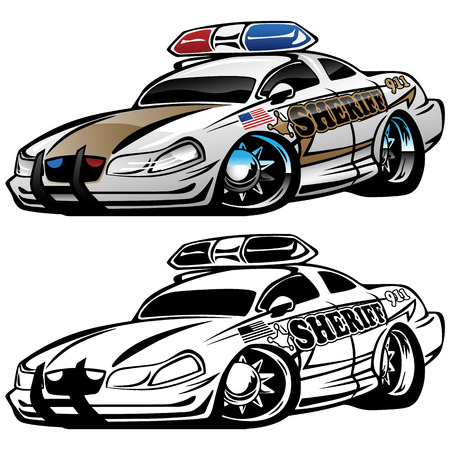 Sheriff muscle car cartoon vector illustration.