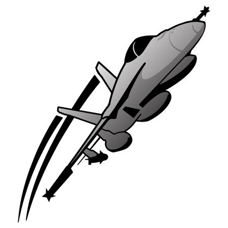 Military Fighter Jet Airplane Vector Illustration  イラスト・ベクター素材