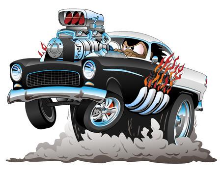 Klasyczny amerykański styl lat pięćdziesiątych Hot Rod zabawny samochód kreskówka z dużym silnikiem, płomienie, opony do palenia, popping na Wheelie, ilustracji wektorowych