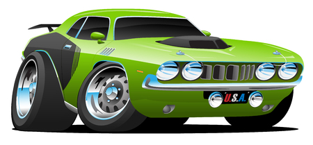 Classic Seventies Style American Muscle Car Cartoon Vector Illustration
