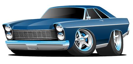 Ilustración de vector de dibujos animados de coche de músculo americano grande estilo clásico de los años sesenta
