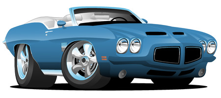 Classic Seventies Style American Convertible Muscle Car Cartoon Vector Illustration  イラスト・ベクター素材