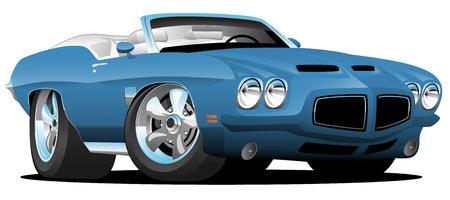 Ilustración de vector de dibujos animados de coche de músculo convertible americano de estilo clásico de los años setenta