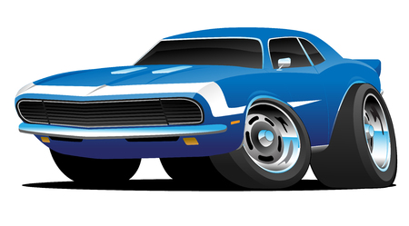 Classic Sixties Style American Muscle Car Hot Rod Cartoon Vector Illustration Иллюстрация