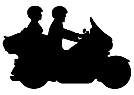 Couple Riding Motorcycle Silhouette Vector Illustration Çizim