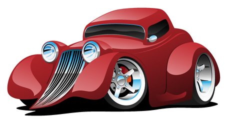 Red hot rod restomod coupe cartoon car. Vector illustration Ilustracja