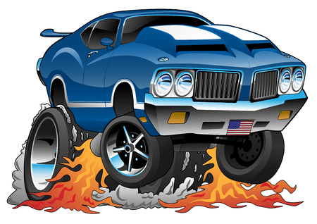 Classic Seventies American Muscle Car Hot Rod Cartoon Vector Illustration Ilustração