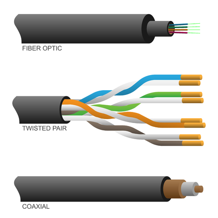 Fiber Optic Coaxial and Twisted Pair Network Cables Vector Illustration
