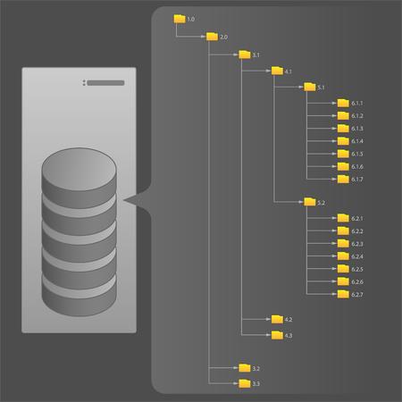 Computer File Structure, Folders, Server, Hard Drives, Vector Illustration