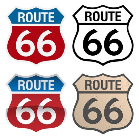 Illustrazione dei segni vettoriali della Route 66, nelle versioni a colori, in bianco e nero e antiche Vettoriali