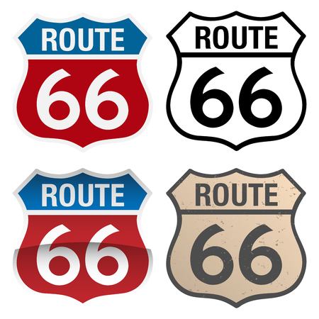 Route 66 vector signs illustration, in full color, black and white and antique versions Vector Illustration