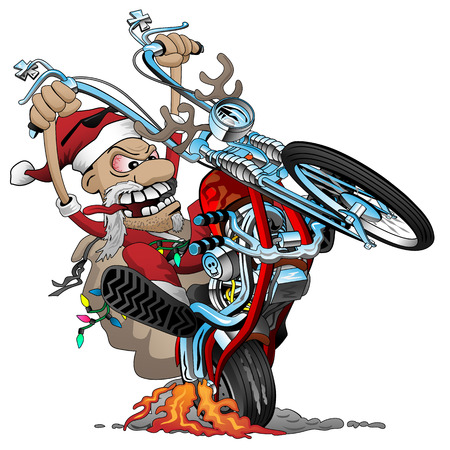 Santa biker on an American style chopper motorcycle, popping a wheelie, vector cartoon Illustration Illustration