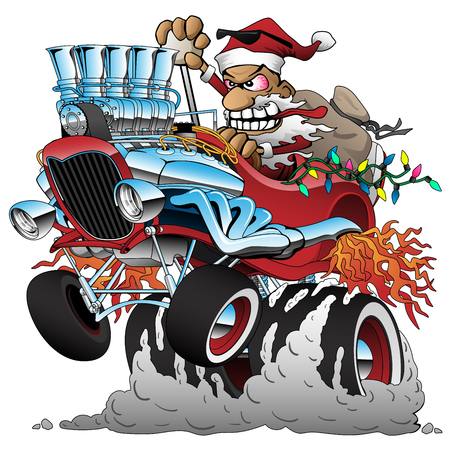 Hot Rod Santa Christmas Cartoon Car Vector Illustration