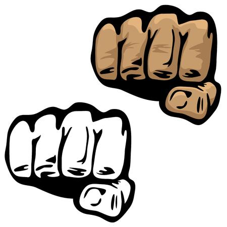 Ilustración de vector de mano de puño en color y blanco y negro