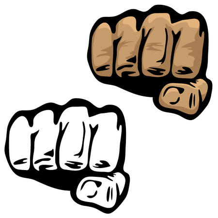 Fist Hand Vector Illustration in Color and Black and White