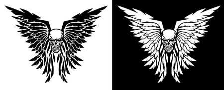Classic skull and wings vector illustration in both black and white versions Illustration