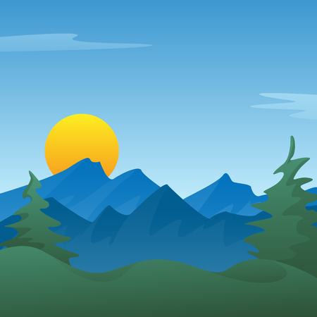 Peaceful blue mountain landscape scene background with pine trees, rolling hills, sun rising or setting, vector Illustration