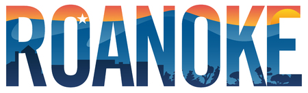 Roanoke pride vector illustration with mountains, star, city scape and sunset Illustration