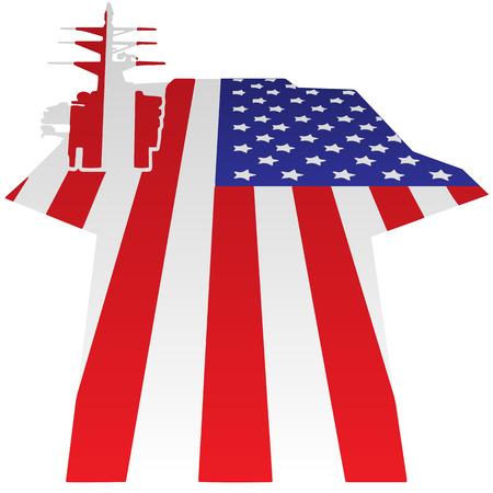 Aircraft Carrier Flight Deck American Flag Vector Illustration