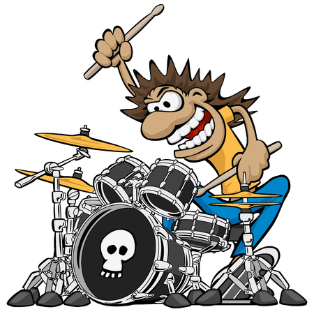 Wild Drummer Playing Drum Set Cartoon Vector Illustration
