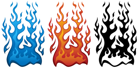 Fire Vector Illustration in Red Blue and Black Flames