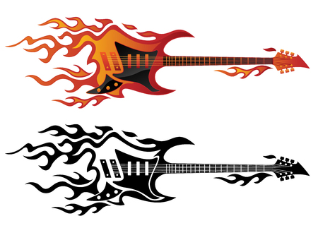 Electric guitar on fire in full color and black flames vector illustration