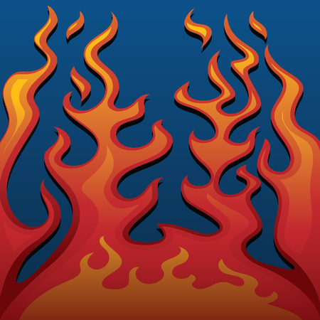 Fire Classic Style Flames on Blue Background Vector Illustration