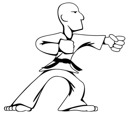 Martial Arts Karate Guy Cartoon Vector Black Line Art Illustration