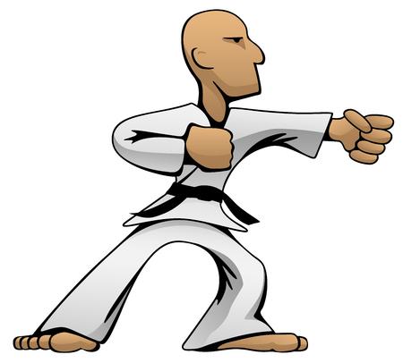 Martial Arts Karate Guy Cartoon Vector Color Illustration Illustration